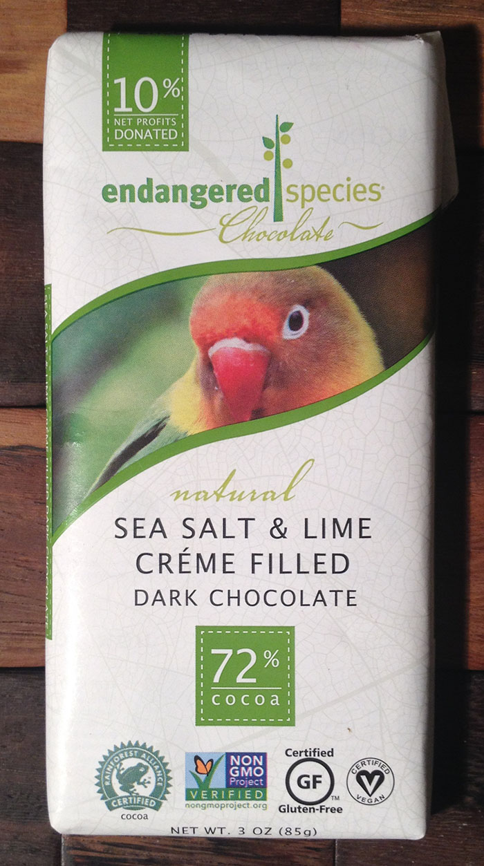 Endangered Species Sea Salt and Lime Crème Filled Dark Chocolate Bar