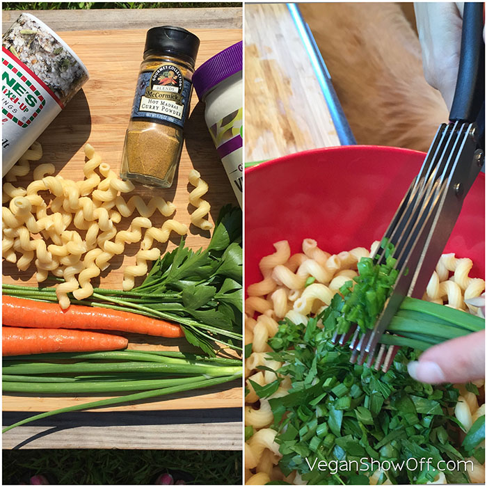 7/20/15- Epic Vegan Snack & Grocery Giveaway + Easy Curried Pasta Salad